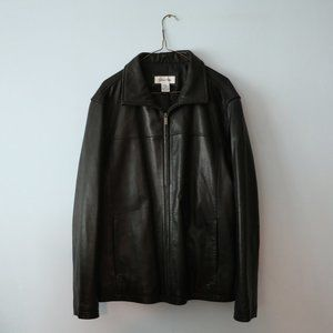 Calvin Klein Men Black Leather Jacket L